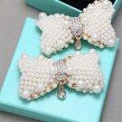 A Pair Ivory Pearl Gold Tone Rhinestone Crystal Wedding Bridal Bow Shoe Clips