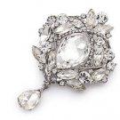 Vintage Bridal Wedding Rhinestone Crystal Dangle Chandelier Brooch Pin Jewelry