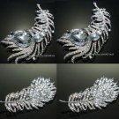 Mix Of 4 Feather Rhinestone Crystal Brooch Pin Jewelry DIY