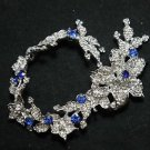 Lots 3 Blue Rhinestone Crystal Wedding Bridal Hair Chain Sash Headpiece Tiara