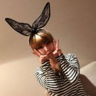 Halloween Christmas Party Black Lace Bunny Rabbit Ears Headband Hair Accessory
