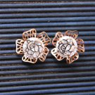 Gorgeous Rose Gold Flower Rose Cubic Zirconia Stud Earrings Fashion Jewelry