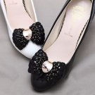 Fashion Black Beads Bow High Heel Women Shoes Gold Buckle Shoe Clips Pair