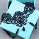 Black Lace Bracelet Woman's Ring Ladies Slave & Black Pearl Necklace Jewelry Set