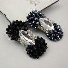 2pcs Dark Blue Or Black Beads Rhinestone Crystal Fashion Wedding Bow Shoe Clips