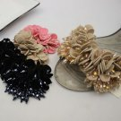 2pcs x Black Or Khaki Flip Flop Flower Beaded Fashion Shoe Clips