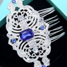 Royal Blue Rhinestone Crystal Vintage Hair Comb Wedding Head Accessories