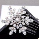 Winter Snowflake Snow Rhinestone Crystal Bridal Hair Comb Wedding Headpiece