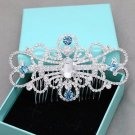 Light Blue Crystal Wedding Headpiece Bridal Hair Comb Rhinestone Accessories