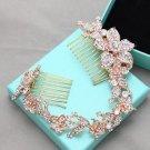 Rose Gold Flower Rhinestone Bridal Hair Comb Accessories Wedding Headpiece Tiara