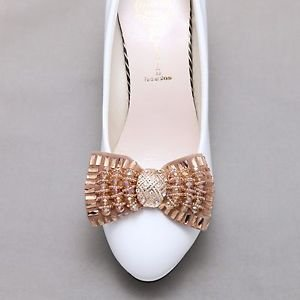 Fashion Gold Beads Ribbon Bow Gold Rhinestone Crystal Buckle Shoe Clips Pair