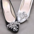 2 pcs x Bridal Rhinestone Pearl Beaded Leaf Shoes Wedding Crystal Shoe Clips