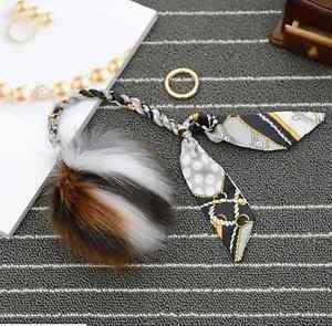 Large Fur Pom Pom Keychain Key Chain Bag Ornament Scarf Knit Keyring