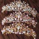 Pink Opal Crystal Rhinestone Bridal Head Crown Wedding Headpiece Accessories
