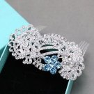 Light Blue Rhinestone Wedding Headpiece Bridal Hair Comb Crystal Accessories