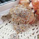 Rhinestone Crystal Vintage Style Gold Tone Dangle Brooch Pin Jewelry
