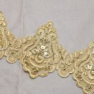 Bridal Wedding Gold Embroidered Lace Beaded Pearl Sequin Trim Per 1/2 Yard