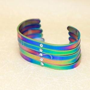 Lot Of 5 Rhinestone Birthstones Rainbow Stainless Steel Cuff Bangle Bracelets