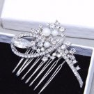 Ivory Pearl Bow Flower Rhinestone Crystal Bridal Hair Comb Wedding Headpiece