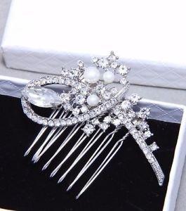 Ivory Pearl Bow Flower Rhinestone Crystal Bridal Hair Comb Wedding Headpiece