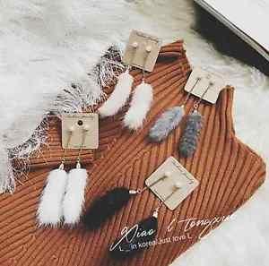 Long Posh Pom Faux Fur Crystal Rhinestone Dangling Drop Earrings Pearl Jewelry