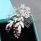 Vintage Style Flower Opal Rhinestone Crystal Bridal Hair Comb Wedding Headpiece