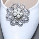 Ivory Pearl Rhinestone Crystal Wedding Bridal Flower Crystal Shoe Clips Pair