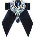 Black Or Blue Velvet Rhinestone Dangle Wedding Men Pre Tied Bow Tie Neck Tie