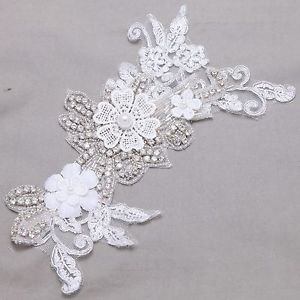 Flower Leaf Wedding Lace Applique Crystal Sew On DIY Headpiece Embellishments