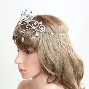Wedding Headpiece Rhinestone Crystal Vintage Bridal  Hair Chain Princess Crown