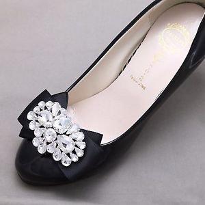 Wedding Crystal Shoes Bridal Rhinestone Bow Black Shoe Clips - Any Colors