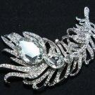 Bridal Feather Rhinestone Crystal Jewelry Wedding Brooch Pin