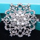Cream Freshwater Pearl Flower Bouquet Decoration Cake Rhinestone Brooch Pin