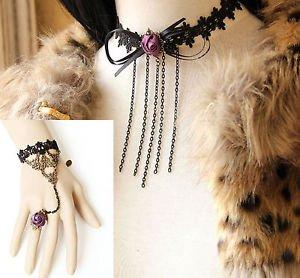 Party Black Lace Gothic Purple Flower Chain Choker Necklace Bracelet Set