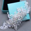 Wedding Rhinestone Headpiece Crystal Leaf Lace Hair Comb Bridal Accessories