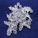 Leaf Flower Wedding Rhinestone Jewelry Bridal Crystal Brooch Pin