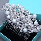 Bridal Wedding Vintage Style Rhinestone Crystal Pearl Hair Comb Headpiece
