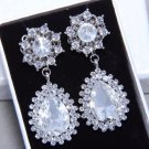 Vintage Silver Bridesmaids Teardrop Rhinestone Crystal Earrings Wedding Jewelry