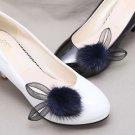 Winter Boots Pom Pom Black Ivory Navy Blue Rabbit Ears Faux Fur Shoe Clips Pair
