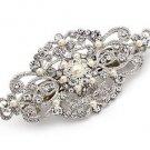 Silver Rose Gold Rhinestone Wedding Crystal Hair Barrette Vintage Bridal Clip