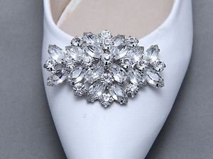A Pair Bridal Wedding Shoes Decoration Crystal Shoe Charm Silver Tone Clips