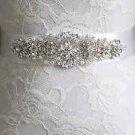 Crystal Rhinestone Applique Wedding Sash Bridal Pearl Black Red Ivory Belt