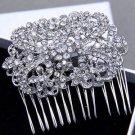 Wedding Bouquet Bridal Leaf Flower Rhinestone Crystal Hair Comb Jewelry
