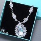 Wedding Rhinestone Crystal Teardrop Pendant Necklace Bridal Bridesmaids Jewelry