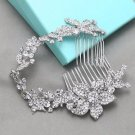 "9"" Long Flower Leaf Rhinestone Crystal Bridal Hair Comb Wedding Headpiece"