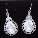 925 Silver Bridesmaids Teardrop Rhinestone Crystal Earrings Wedding Jewelry