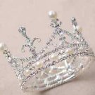 Bridal Headpiece Wedding Rhinestone Hair Piece Silver Pearl Ring Crystal Crown