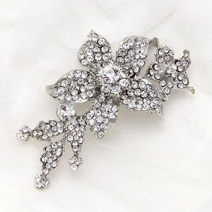 Elegant Bridal Flower Leaf Brooch Pin Clear Rhinestone Crystals Jewelry