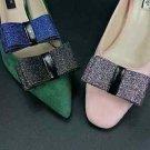 Artificial Leather PU Sparkling Black Blue Colors Boots Bow Shoe Clips Pair