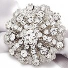 Bridal Crystal Jewelry Wedding Rhinestone Crystal Round Cake Brooch Pin